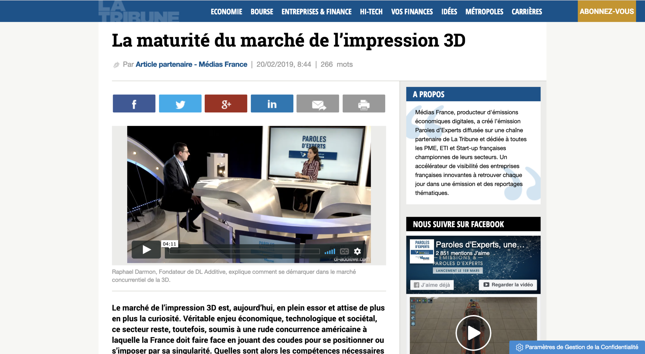article-dl-additive-la-tribune Espace presse
